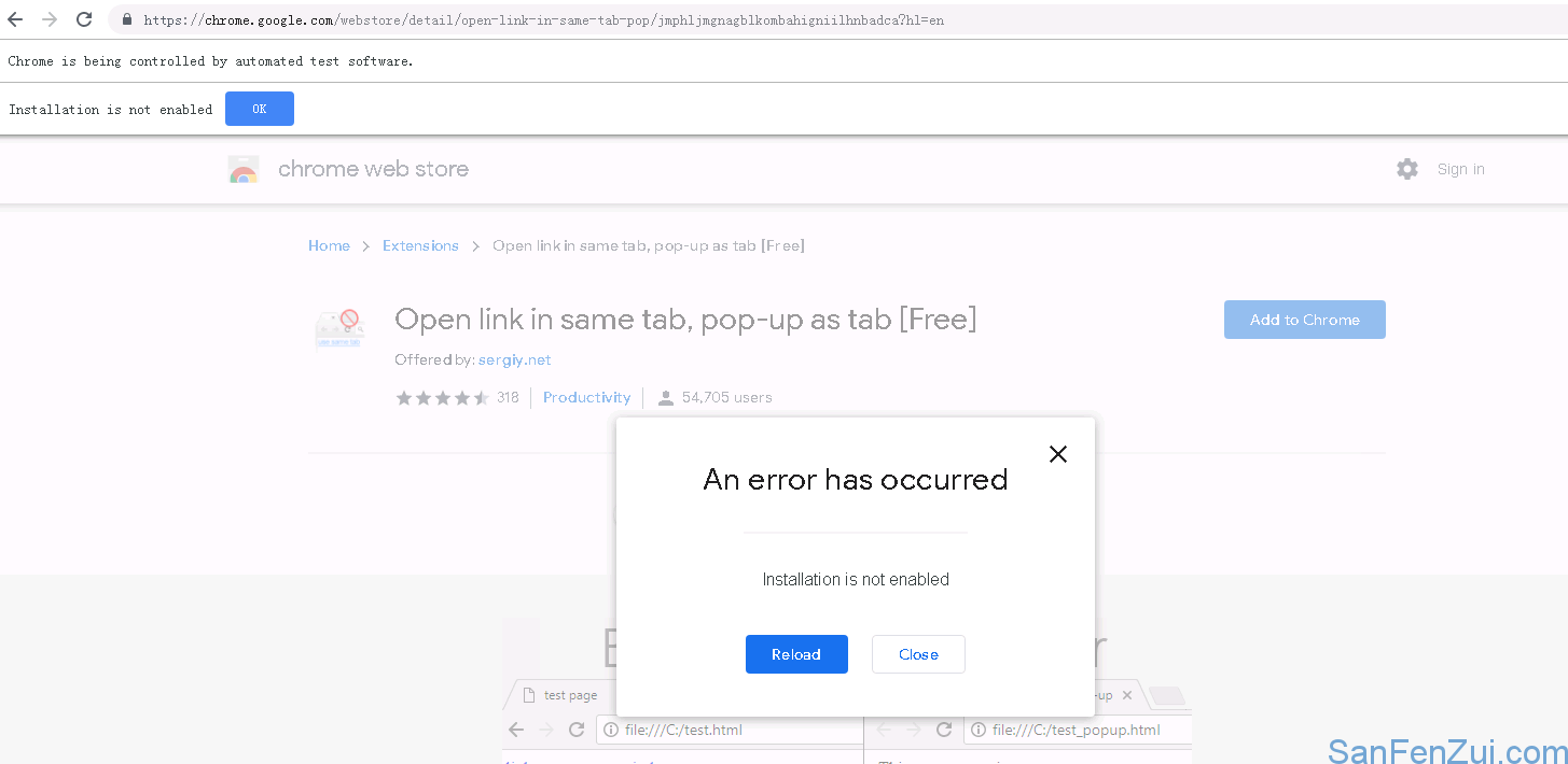 Failed to load extension